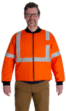 Image of MWG COTTON COMFORT cooler jacket. MWG Cooler Jacket is bright orange with silver reflective tape on arms and torso. Jacket is made treated FR cotton.