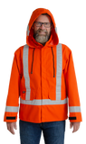 Image of MWG GLENGUARD flame-resistant rain coat. Rain coat is bright orange in colour with silver reflective striping on arms, torso, and hood. Detachable hood is being worn up with black drawstrings hanging below. Two front pockets and black velcro closures near wrists are seen in image.