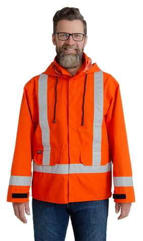 Image of MWG GLENGUARD flame-resistant rain jacket. MWG flame-resistant rain jacket is bright orange in colour with silver reflective tape on torso and arms. Two black drawstrings hang from the hood and black velcro closures are seen near the wrists. Features two front pockets on lower torso.