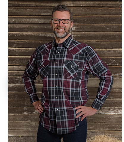 Men's Western Long Sleeve Plaid Shirt - I30D02-06