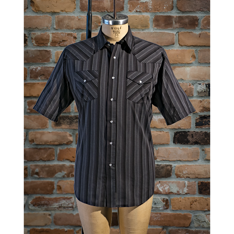 Men's Western Short Sleeve Stripe Shirt - I30E01-57