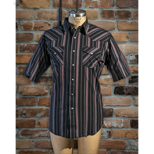 Men's Short Sleeve Poly Cotton Stripe • I30E01R-76