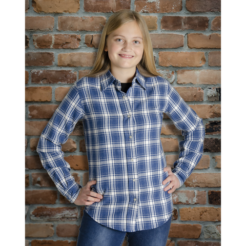 The Can-Ultimate Ladies Snap Plaid Flannel Shirt in Blue - I47F10-41