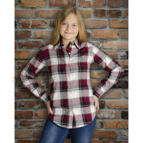 The Can-Ultimate Ladies Snap Plaid Flannel Shirt in Burgundy - I47F10-07