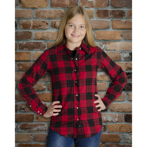 The Can-Ultimate Ladies Snap Plaid Flannel Shirt in Nipigon Red - I47F10