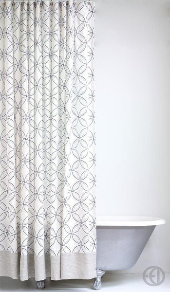 Transitional Linen Shower Curtain with Geometric Pattern and Linen Banding