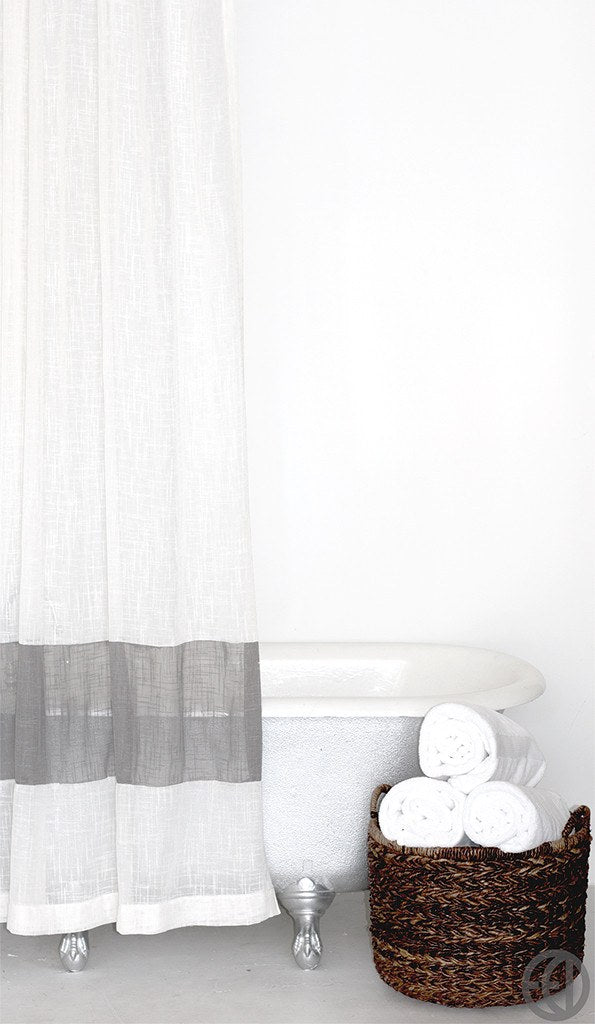 sold out extra long fabric shower curtain in white or cream with grey stripe