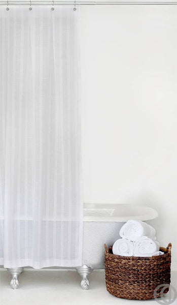 White Stripe Fabric Shower Curtain