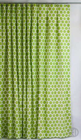 Green and White Shower Curtain in Extra Long Sizes