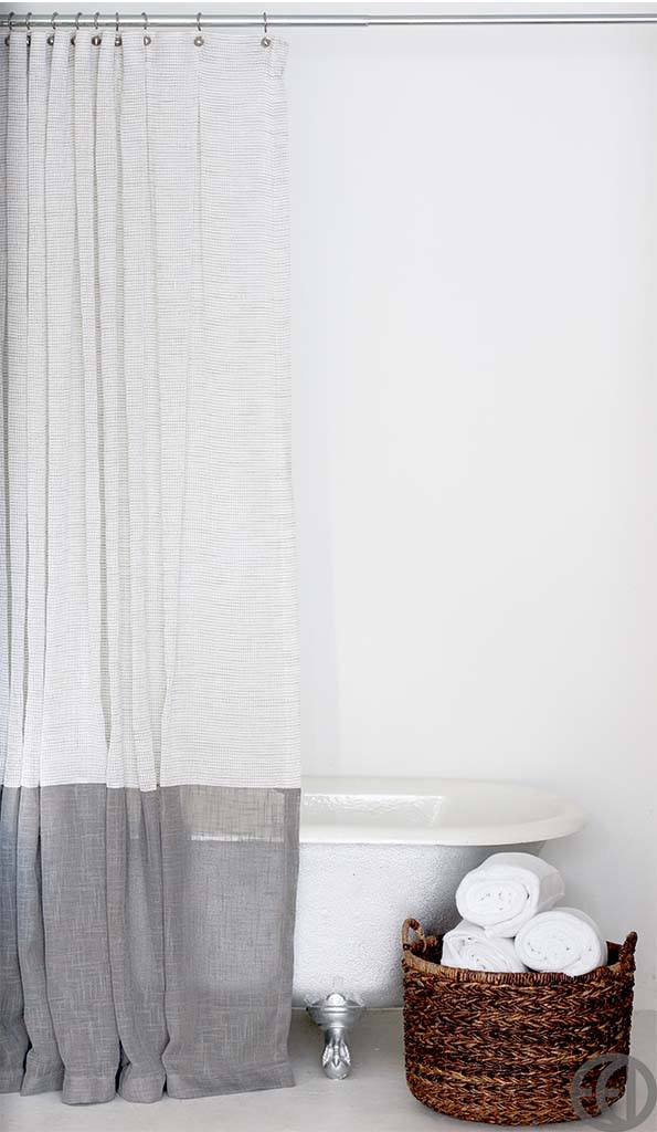 Long White And Grey Shower Curtain With Large Bottom Banding