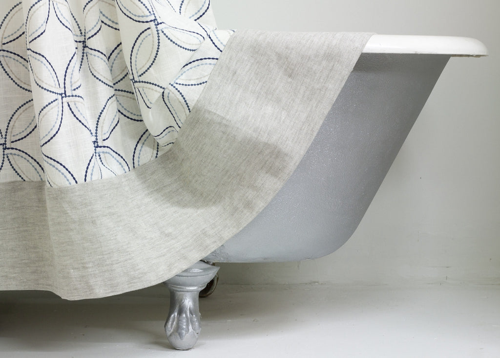 Transitional Linen Shower Curtain with Geometric Pattern and Linen ...