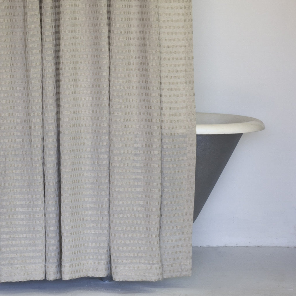 Natural shower curtain -  Greige Fabric Shower Curtain In Extra Long Sizes