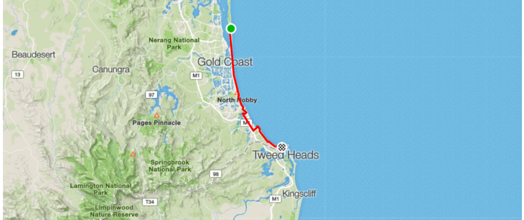 Bike Routes Gold Coast Livelo South Port to Tweed Heads