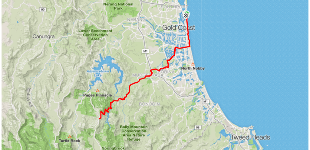Bike Routes Gold Coast Livelo GOLD COAST TO SPRINGBROOK NATIONAL PARK
