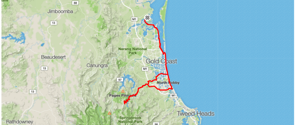 Bike Routes Gold Coast Livelo Sanctuary Cove to Springbrook National Park