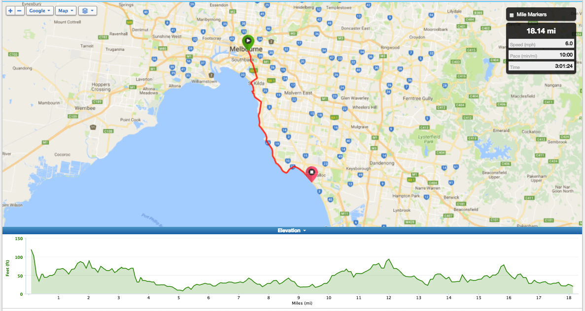 Bike Routes Melbourne Livelo CBD to Mordialloc