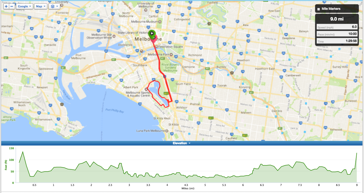Bike Routes Melbourne Livelo Melbourne City to Albert Park and Return