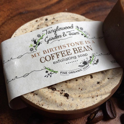 My Birthstone is a Coffee Bean!~ Coffee bean pumice exfoliating organic soap with sweet orange and clove