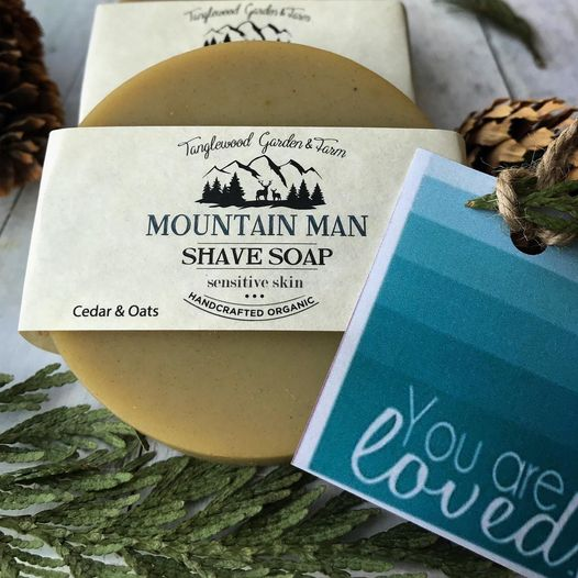 Mountain Man Organic Shave Soap for sensitive skin, with cedar & oats