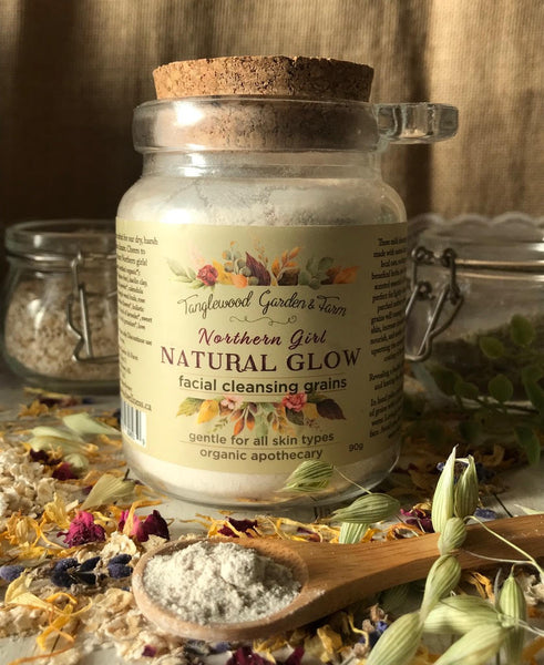 New! Natural Glow~ Northern Girl Organic Facial Cleansing Grains Oatmeal & Wild Rose in 8oz glass jar with spoon