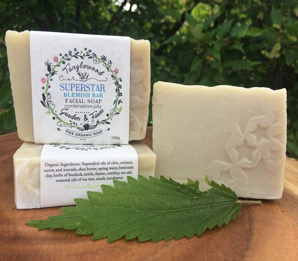 Superstar Blemish Bar~ Tea Tree and Clay Organic Facial Soap