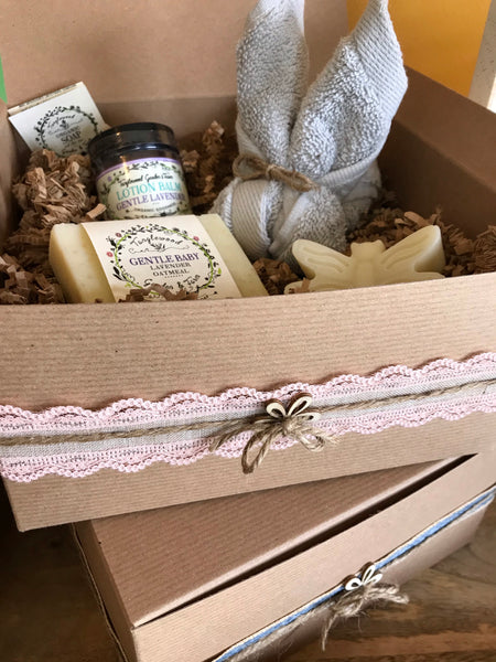 Gentle Baby Gift Box~ Organic Gentle Baby Soap. Lotion, and Plush Washcloth