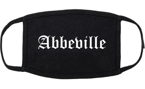 Abbeville Louisiana LA Old English Cotton Face Mask Black