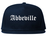 Abbeville Louisiana LA Old English Mens Snapback Hat Navy Blue
