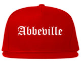 Abbeville Louisiana LA Old English Mens Snapback Hat Red