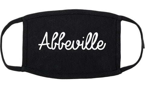 Abbeville Louisiana LA Script Cotton Face Mask Black