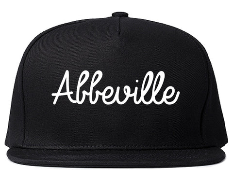 Abbeville Louisiana LA Script Mens Snapback Hat Black