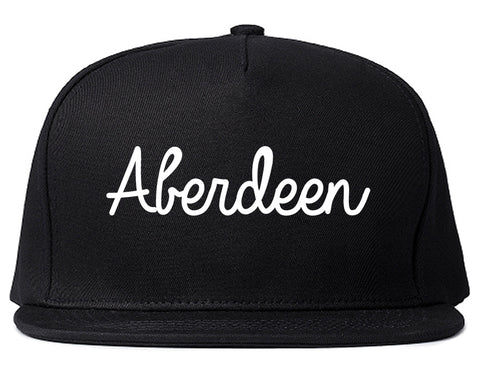 Aberdeen South Dakota SD Script Mens Snapback Hat Black
