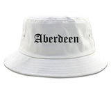 Aberdeen Washington WA Old English Mens Bucket Hat White