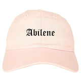 Abilene Kansas KS Old English Mens Dad Hat Baseball Cap Pink