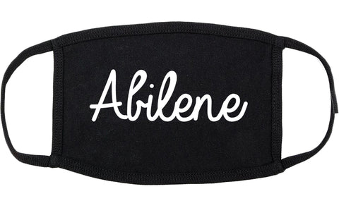 Abilene Kansas KS Script Cotton Face Mask Black