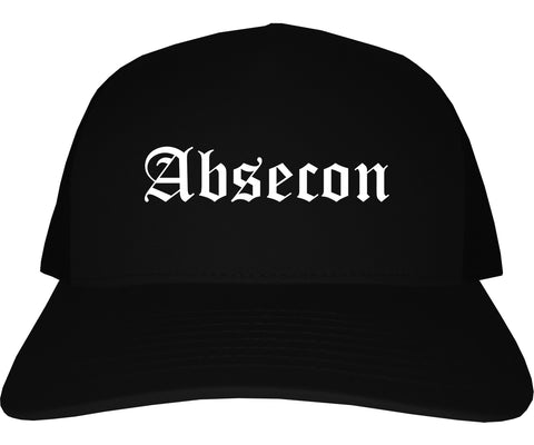 Absecon New Jersey NJ Old English Mens Trucker Hat Cap Black