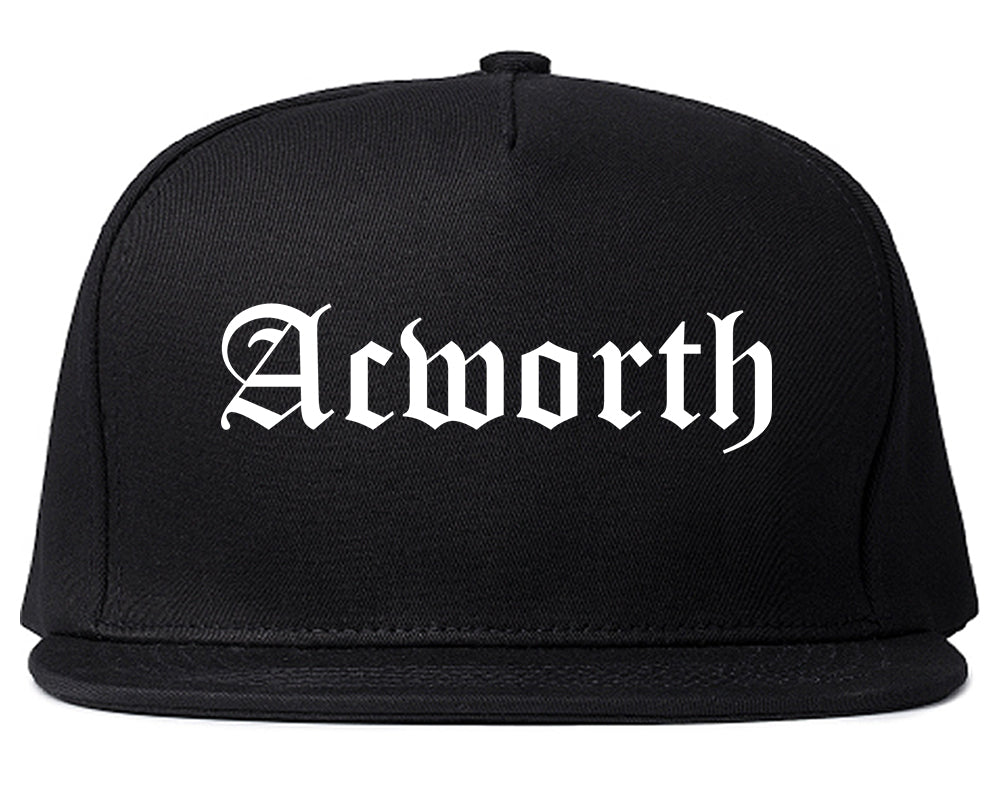 Acworth Georgia GA Old English Mens Snapback Hat Black