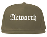 Acworth Georgia GA Old English Mens Snapback Hat Grey