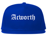 Acworth Georgia GA Old English Mens Snapback Hat Royal Blue