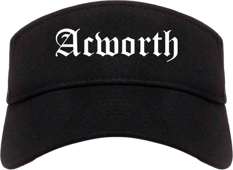 Acworth Georgia GA Old English Mens Visor Cap Hat Black