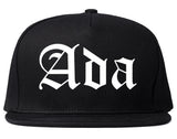 Ada Oklahoma OK Old English Mens Snapback Hat Black