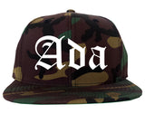Ada Oklahoma OK Old English Mens Snapback Hat Army Camo