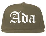 Ada Oklahoma OK Old English Mens Snapback Hat Grey
