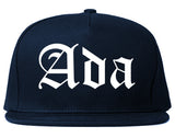 Ada Oklahoma OK Old English Mens Snapback Hat Navy Blue