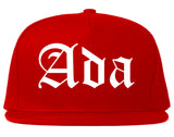 Ada Oklahoma OK Old English Mens Snapback Hat Red