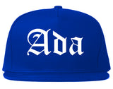 Ada Oklahoma OK Old English Mens Snapback Hat Royal Blue