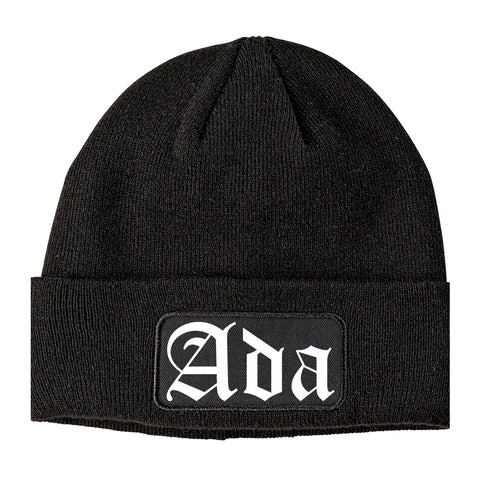 Ada Oklahoma OK Old English Mens Knit Beanie Hat Cap Black