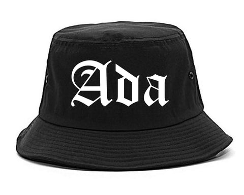 Ada Oklahoma OK Old English Mens Bucket Hat Black