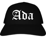 Ada Oklahoma OK Old English Mens Trucker Hat Cap Black
