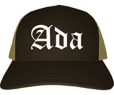 Ada Oklahoma OK Old English Mens Trucker Hat Cap Brown